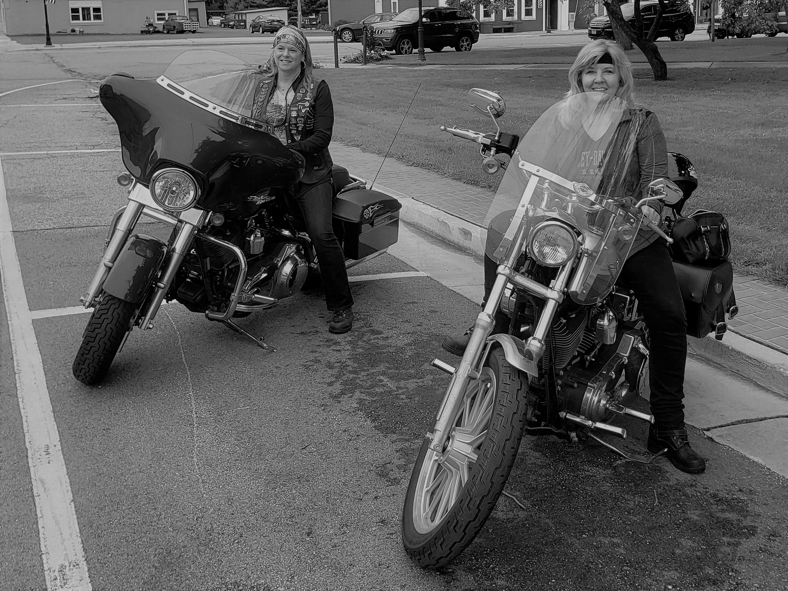 Karen and Judy riding bikes